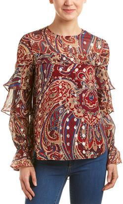 Haute Hippie Ruffle Silk-Blend Blouse