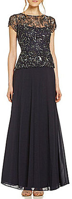 Pisarro Nights Chiffon Floral-Beaded Bodice Two-Piece Gown $218 thestylecure.com