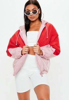 Missguided Pink Colourblock Detail Windbreaker Jacket