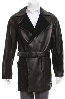 Saint Laurent Leather Double-Breasted Overcoat