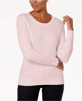 Karen Scott Crewneck Cable-Knit Sweater