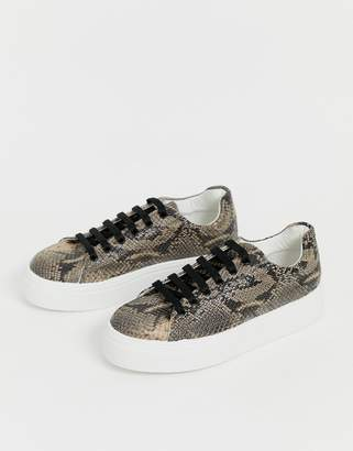 1bff81f2a57b Asos Design DESIGN Day Light chunky lace up trainers in snake
