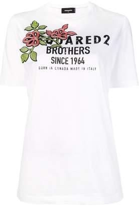 DSQUARED2 flower logo print T-shirt