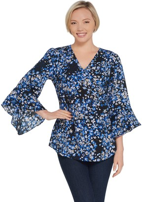Belle By Kim Gravel Belle by Kim Gravel V-Neck Floral Flutter Sleeve Blouse