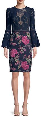 Tadashi Shoji Bell-Sleeve Lace Sheath Dress