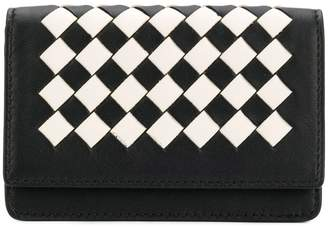 Bottega Veneta nero latte Intrecciato palio card case