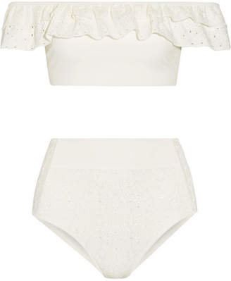 Off-the-shoulder Broderie Anglaise-paneled Bonded Jersey Bikini - White