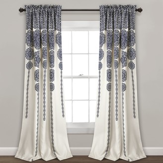 "Lush Decor 2-pack Stripe Medallion Room Darkening Window Curtains - 52"" x 84"""