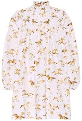 Ganni Horse-printed cotton dress