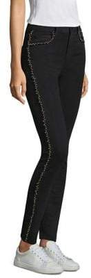 Paige Hoxton Silver Pearl-Trim Jeans