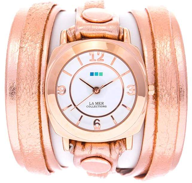 La Mer Round Case White Dial Rosetone Metallic Leather Wrap-Design Watch