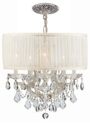 Swarovski Crystorama Brentwood 6-Light Elements Crystal Chrome Drum Shade Chandelier