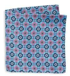 Saks Fifth Avenue Men's COLLECTION Kaleidescope Print Silk Pocket Square - Pink Blue