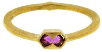 Cathy Waterman Horizontal Ruby Shield Ring - Yellow Gold