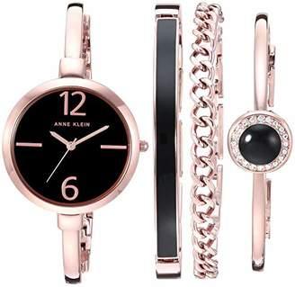 Anne Klein Women's AK/3290BKST -Tone Bangle Watch and Bracelet Set