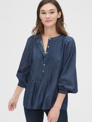 Gap Three-Quarter Sleeve Pleated Popover Shirt in TENCEL