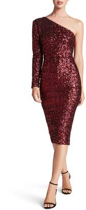 Dress the Population Chrissie One Shoulder Long Sleeve Dress