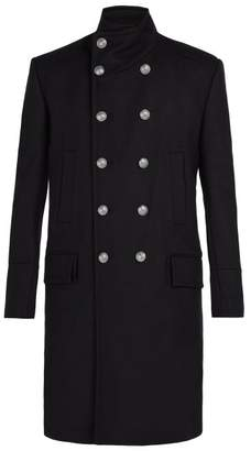 Balmain Long Wool And Cashmere Blend Coat - Mens - Black