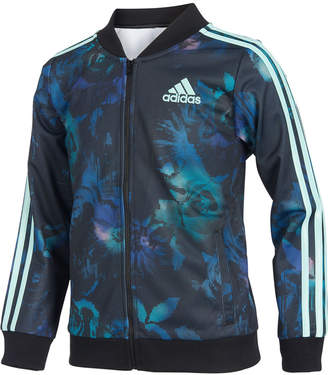 adidas Toddler Girls Floral Glow-Print Tricot Jacket