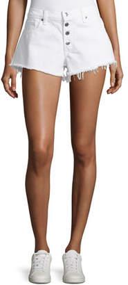 Veronica Beard Debbie Denim Shorts w/ Frayed Hem, White