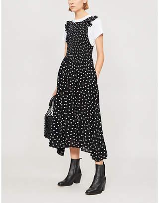 Free People Butterflies Dot polka-dot woven midi dress