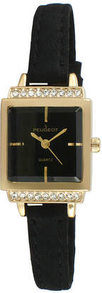 Peugeot Womens Gold Tone And Black Petite Crystal Accent Suede Strap Watch 3047GBK