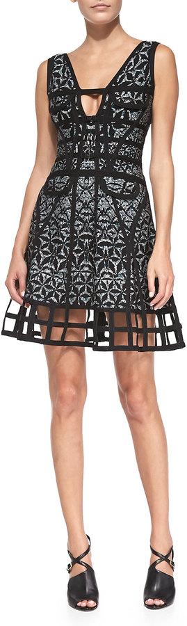 Herve Leger Lora Sleeveless Sundial Dress