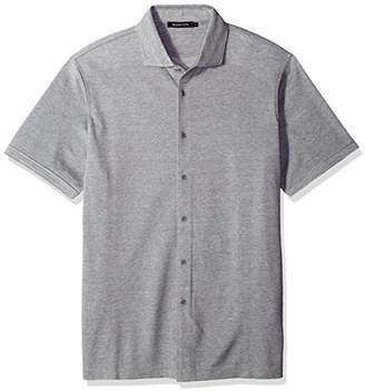 Bugatchi Men's Trim Fit Full Button Self Collar Knit Shirt