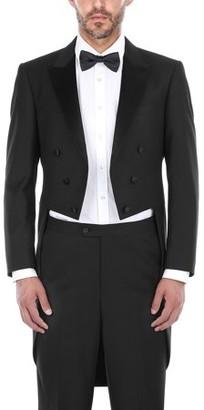 Renoir Big Men's Black Classic Fit Peak Lapel Full Dress Two Piece Tuxedo With Tails