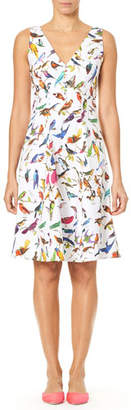 Carolina Herrera V-Neck A-Line Bird-Print Dress