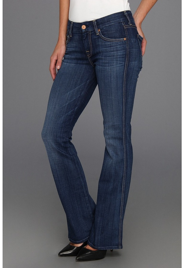 7 For All Mankind Petite Lexie A Pocket in Washed Medium Indigo (Washed Medium Indigo) - Apparel
