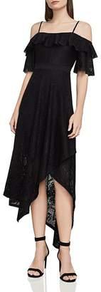 BCBGMAXAZRIA Demi Cold-Shoulder Lace Midi Dress