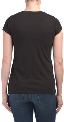Pima Cotton Split Neck Tee With Side Slits