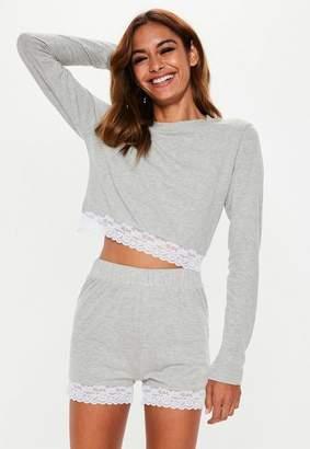 00c3892534a8 Missguided Gray Lace Trim Shorts Pyjama Set