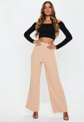 Missguided Nude Stretch Crepe Wide Leg Trousers