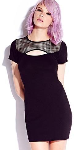 Forever 21 Net-Trimmed Bodycon Dress