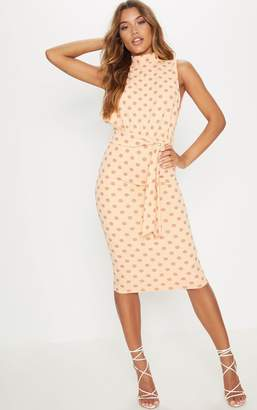 PrettyLittleThing White Polka Dot High Neck Tie Waist Midi Dress