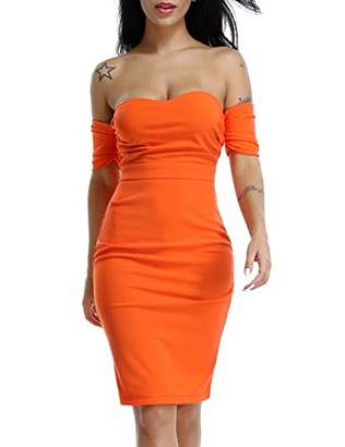 Deer Lady Womens Sexy Off Shoulder Strapless Short Sleeve Party Cocktail Bodycon Dress M