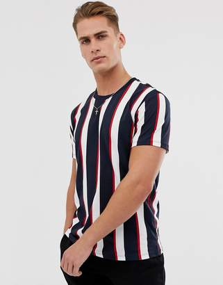 Bershka vertical striped t-shirt in navy