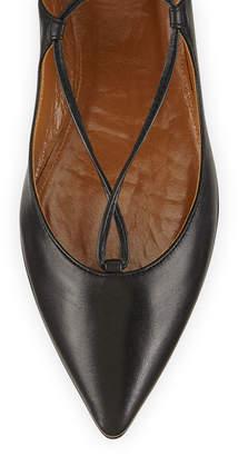 Aquazzura Christy Lace-Up Pointed-Toe Flat