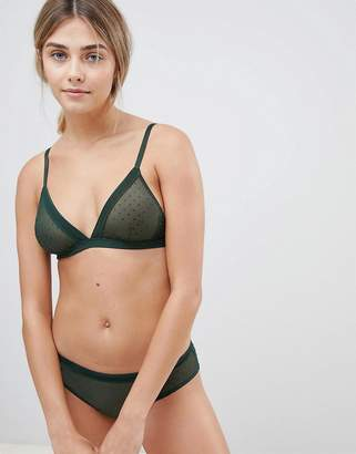 Weekday mesh spot triangle bra in dark green