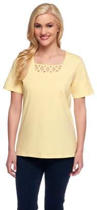 Denim & Co. Perfect Jersey Short Sleeve T-Shirt w/ Lattice Neck
