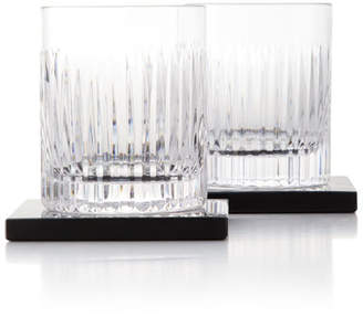 Waterford Crystal Aras Double Old-Fashioneds with Coasters, Set of 2