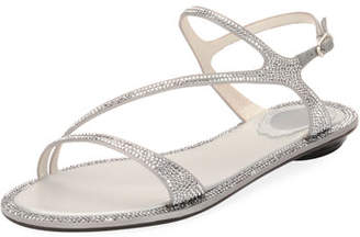 Rene Caovilla Strass Flat Strappy Sandal, Silver