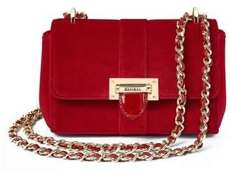 Aspinal of London Micro Lottie Bag In Scarlet Velvet