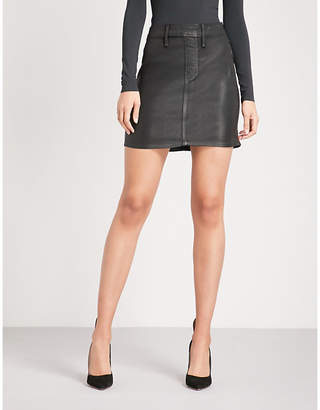 Good American The Waxed coated stretch-denim mini skirt