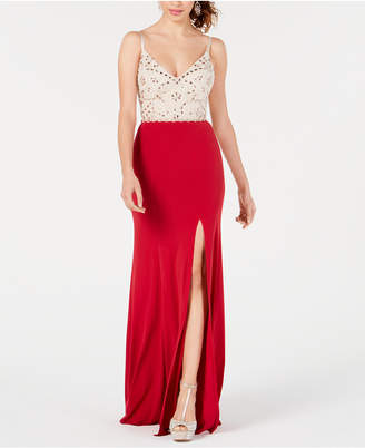 Speechless Juniors' Embellished Colorblocked Gown