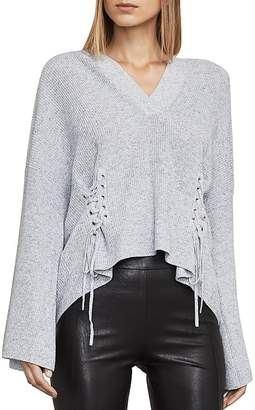 BCBGMAXAZRIA Caitlyn Lace-Up Hooded Sweater