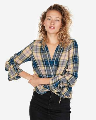 Express Plaid Surplice Front Blouse
