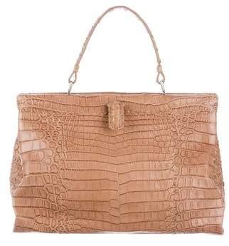 Bottega Veneta Crocodile Intrecciato Frame Bag
